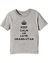 Erido Keep Calm and Love Orang-UTAN Kinder Unisex Jungen Mädchen T-Shirt Rundhals Grau Kurzarm Alle Größen Kids Boys Girls Grey All Sizes