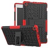 Para los casos de protección del teléfono celular, Estuche para tableta Amazon Fire HD 8 (7ª y 8ª generación, versión 2017 y 2018), armadura híbrida de doble capa Kickstand 2 en 1 cubierta a prueba de