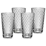 WMF Latte Macchiato Gläser-Set 4-teilig Latte Macchiato Gläser Aromawaben Wabenmuster Kaffee Longdrink Cocktail Glas hitzebeständig spülmaschinengeeignet