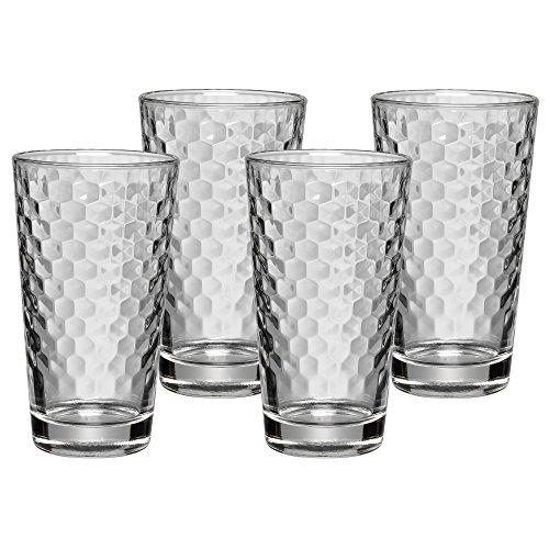 WMF Longdrinkgläser Set 4-teilig Wabenmuster Cocktail Latte Macchiato Kristallglas hitzebeständig...
