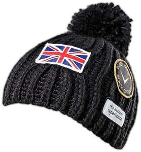 Black Canyon Strickmütze Beanie mit Bommel, 2 Farben, schwarz, BC1120