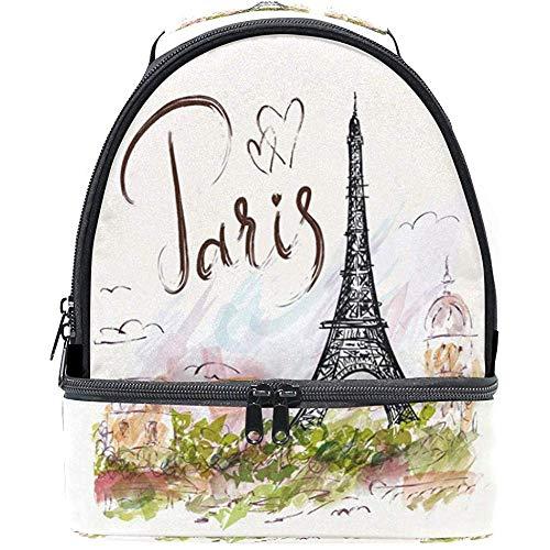 Caill- Gray-backpack Rucksack Aquarell Romantik Paris Eiffelturm Tragbare Schulter Doppel Lunchbox...