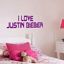 Homemay PVC pared pegatinas Inglés Justin Bieber cristal verde para salón o dormitorio bedroomwallpaper45.7cm x16.5cm, Matt Sliver, 45.7cm x16.5cm