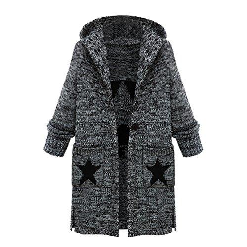 ZKOO Femme Plus Epais Cardigan Outerwear Longue A Capuche Cardigan Tricoté A Manches Longue Manteau Mode