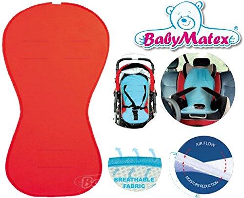 BabyMatex - Sitzauflage / Sitzeinlage PADDI -- AIR FLOW -- Universal für Babyschale, Autokindersitz, z.B. für Maxi-Cosi, Römer, für Kinderwagen, Buggy, Hochstuhl etc. ROT