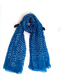 Rajasthani, Jodhpuri Hand Crafted Tapeta Silk Bandhej/Bandhani Ladies/Girls/Woman Dupatta- Dark Sky Blue (ALD004)