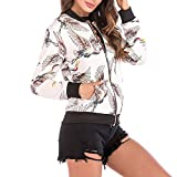 OIKAY Fashion Baseball Mantel Zipper Jacke Tops Frauen Vogel Print Bluse