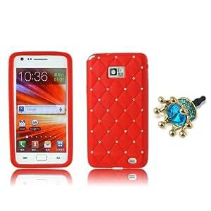 BestCool 1x Rot Rot Bling Strass TPU Silikon Case Cover Hülle für Samsung Galaxy S2 S II I9100 Luxus Glitzer Schutzhülle Gitter Tasche Etui Handytasche + 1x Blau Kaiserkrone Anti-Dust Plug