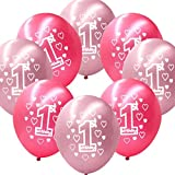 Fontee Baby 20 Stück 12'' Mädchen 1. Geburtstag Luftballons Geburtstagparty Dekoration Luftballons baby shower decorations bedruckte perlierte Latexballons,Rosa/Rot