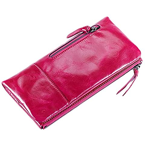 GSPStyle Women Oil Genuine Leather Zipper Clutch Purse Card Holder Long Wallet Colour Hot Pink