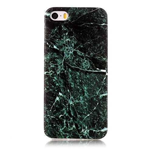 iPhone 5S Hülle Marmor, iPhone SE Marble Case,iPhone 5 Weich Silikon Handyhülle,Lifetrut Marmor Design Soft Rückseite Stoßstange TPU Gummi Silikon Skin Tasche für iPhone 5S SE 5 [Tinte] E204-Grün