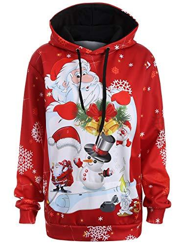 xiaozhao Sweatshirts Big Code Santa Claus Digitaldruck Hut Mit Losen Großen Pullover. Gulen M (Big Santa Hut)