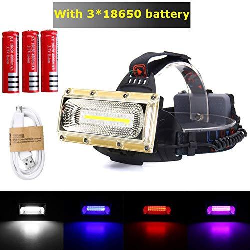 GEZICHTA Stirnlampe, 3000 lm, 30 W, COB Arbeitsscheinwerfer, LED, Tragbare Suchlichter, USB wiederaufladbar, 18650 Suchlichter, wasserfest, superhelle LED-Taschenlampe, Gold, Battery Version
