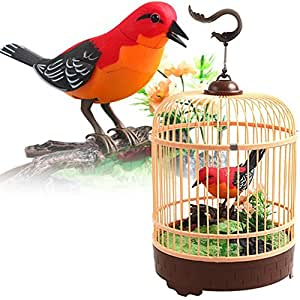 Liberty Imports Singing & Chirping Bird In Cage - Realistic Sounds & Movements