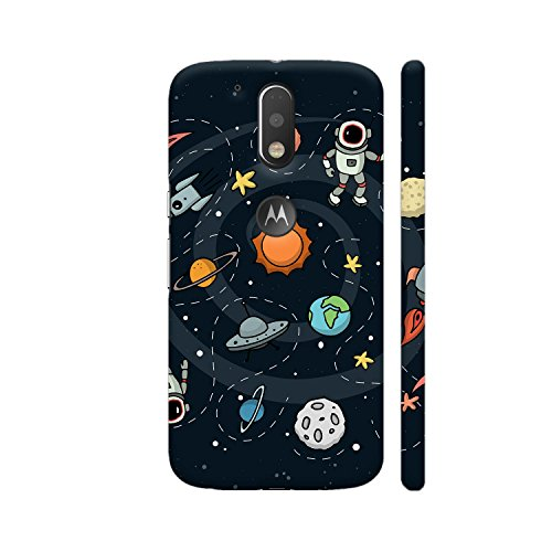 Colorpur Space Printed Back Case Cover for Moto G4 Plus Logo Cut