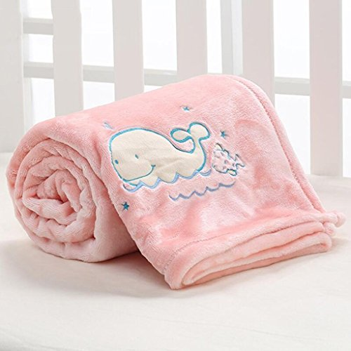 YAOHAOHAO Rosa Wal Muster babydecke Decke Polyester Material Winter Kindergarten Konzipiert für Baby (100*150cm)