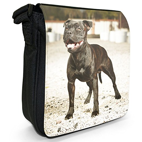 Staffordshire Bullterrier Staffy Staff Hund Kleine Schultertasche aus schwarzem Canvas Schwarzer Staff will spielen
