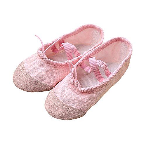 Krabbelschuhe Babyschuhe Lauflernschuhe Kleinkind Ronamick Leinwand Ballett Pointe Dance Baby Kinder Junge Schuhe Netter Rutschsicheren(Age:3.5-4Years, Rosa)