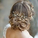 Aukmla Haarnadeln für Hochzeit Brautschmuck–mit Perlen, Haar-Accessoires Mit Strass für Frauen und Mädchen (2 Stück)