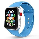 Iyou für Apple Watch Armband 38mm/42mm, Weiches Silikon Ersatzarmband Classic Sportarmband für iWatch Apple Watch Series 3/2/1, Edition, Nike + (42MM M/L, Blau)
