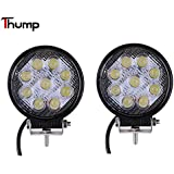 Thump 9 12V 3000K Round LED Fog Light with Mounting Brackets (27W, White) - Pack of 2