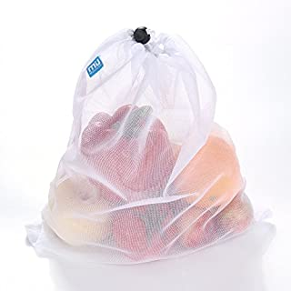MIU COLOR® Reusable Produce Bags - White Color Mesh Bags for Fruit and Vegetables