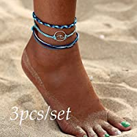 3pcs Bohemia Silver Wave Anklets Bracelets for Women Rope Beach Anklet Jewelry