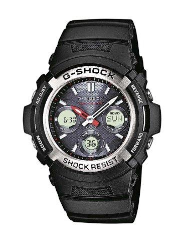 Casio G-Shock Analog-Digital Herrenarmbanduhr AWG-M100 Silber-schwarz, Solar und Funkuhr, 20 BAR AWG-M100-1AER (Edelstahl Aus G-shock Uhren)