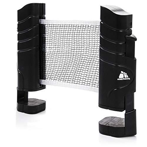 meteor Tischtennisnetze ausziehbar Tischtennis Netze Schwarz - Einziehbares Netz - einstellbare Länge mobiles tischtennisnetz für jeden Tisch 200(max) x 14,5cm