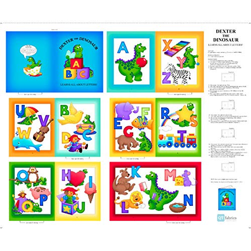 Quilting Treasures Dinosaur ABC-Buch-Stoff - Alphabet Soft Book Panel - QT88 100% Baumwolle (Stoff-buch-panels)
