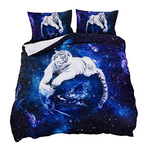 Suncloris Galaxy Weiß Tiger, 3-Teiliges Betten-Bettlaken-Set. Enthalten: 1Bettbezug, 2pillowcase Keine Tröster (Innen) Full/Queen Blau -