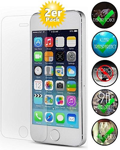 [2 Pack] Panzerglas für Apple iPhone 5 / 5S Schutzglas, Panzerglasfolie Schutzfolie Gehärtetes Glas 9H Displayschutzfolie Smartphone-Equipment (Apple Smartphone 5)