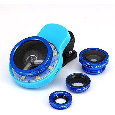 3 in Portable Clip-on Mini Selfie Lens 8 LED Flash Fill-in Light Lamp with Supreme Fisheye /0.67x Wide Angle /10x Macro Lens Universal for iOS Android Smartphones Tablets Mobile Phone Best Friends Gifts (Blue)