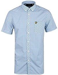 Hombre Lyle & Scott Micro De Cuadros Caribe Mar Camisa Manga Corta