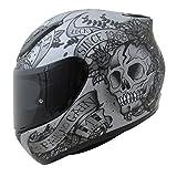 MT Revenge Totenkopf und Rosen grau Full Face Motorrad Helm