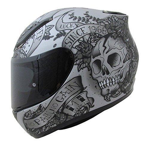 MT Revenge cráneo & rosas gris Moto Casco Integral