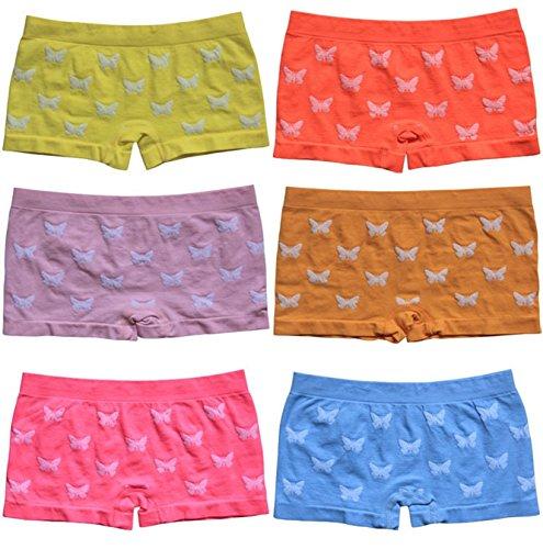 6 | 12 Stück Mädchen Pantys Hipster Shorts Girls Kinder Unterhosen Kids Unterwäsche Mikrofaser 92 bis 158 - BestSale247 (110-122, 6 Stück Schmetterling-Motiv)