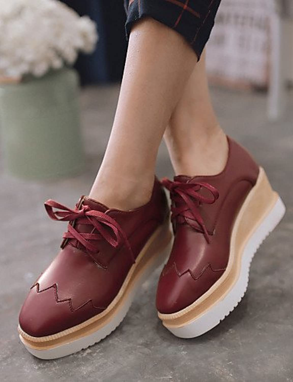NJX/ Zapatos de mujer - Tacón Cuña - Puntiagudos - Oxfords - Vestido - Semicuero - Negro / Rosa / Rojo / Beige...