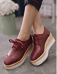 ZQ Zapatos de mujer - Tacón Cuña - Puntiagudos - Oxfords - Vestido - Semicuero - Negro / Rosa / Rojo / Beige , red-us8 / eu39 / uk6 / cn39 , red-us8 / eu39 / uk6 / cn39