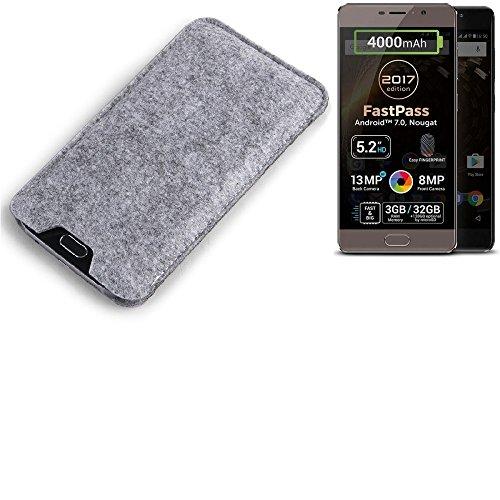 K-S-Trade Filz Schutz Hülle für Allview P9 Energy Lite (2017) Schutzhülle Filztasche Filz Tasche Case Sleeve Handyhülle Filzhülle grau
