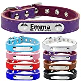 TagME Personalisierte Hundehalsbänder aus Leder/Weich Gepolstertes Hundehalsband/Löschen Sie Name, Telefonnummer und Mikrochipnummer/Für mittlere und große Hunde/Lila