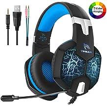 PS4 Gaming Headset, YINSAN Cuffie da Gioco Stereo Over Ear con Microfono, 7 Luci a LED e Paraorecchie Morbidi di Memoria con Controllo del Volume per Xbox One, Nintendo Switch, PC, Laptop, Tablet