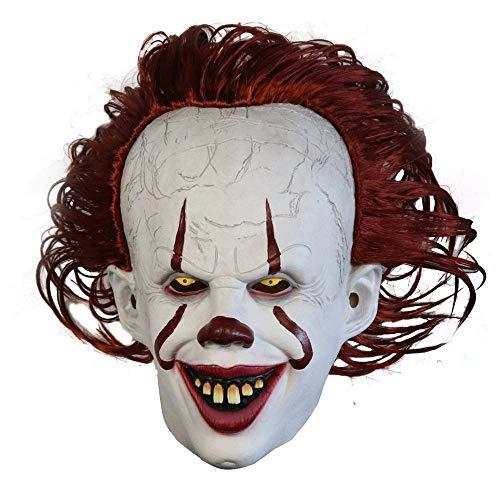 Kostüm Gesicht Zwei - XH Halloween Clown Maske Kopfbedeckung Es: Kapitel Zwei Pennywise (Clown Back Spirit 2) Kostümparty Kostüm Erwachsene Maske Terrorist Perücke Cosplay Perücke Maske (Weiß)