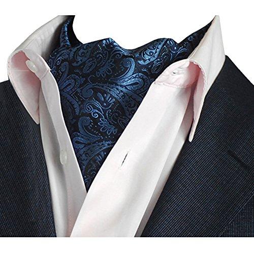 YCHENG Herren Krawattenschal Elegant Blumenkleid Ascot Seidenschal Paisley Jacquard Anzug Zubehör Blau 100-135cm (Herren Seide Schal Krawatte)