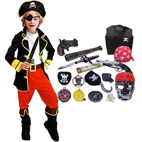 Kinderfreundlich Kostüm Einfach - FAIRYRAIN 22 Pcs Kinder Jungen Halloween Piratenkostüm mit Piraten Zubehöre Piraten Augenklappe Hut Kompass Geldbeutel Outfits Party Verkleidung