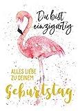 Glückwunschkarte Postkarte zum Geburtstag Flamingo * Du bist einzigartig