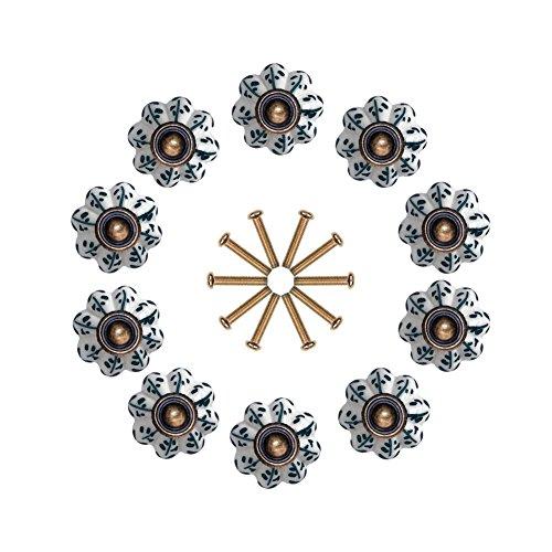 10 pomos de cerámica ideales para cajón de cocina, tiradores o pomos de puerta, baño, de NONIU, multicolor