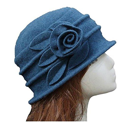 mujeres Fieltro Cloche Cubo sombrero, tukis puertas Invierno Gorro Slouch Beanie Tapa Efecto arrugado vintage Cloche melón con flor azul