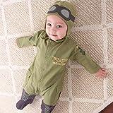 P Prettyia Baumwolle mit Spandex, Baby Overalls, kinder Pilot, Overall Spielanzug Kostüm Ohne Fußschlaufen - Grün 80