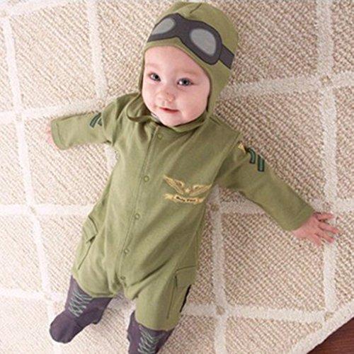 mit Spandex, Baby Overalls, kinder Pilot, Overall Spielanzug Kostüm Ohne Fußschlaufen - Grün 90 (Pilot Kinder Kostüme)